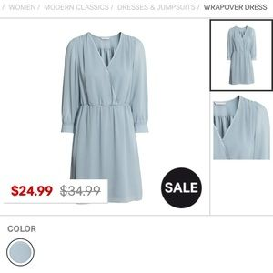 H&M blue wrap over dress